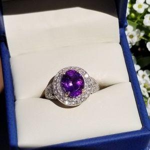 Beautiful Siberian Amethyst & Diamond Ring